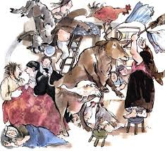 Illustration from the story of animals living in the house with the people.
